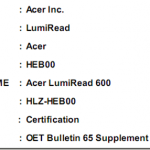 Acer Lumiread passa l'FCC