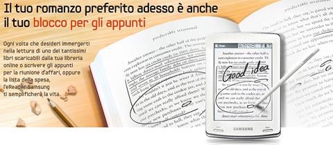 Ebook reader Samsung E60 con supporto alla scrittura manuale
