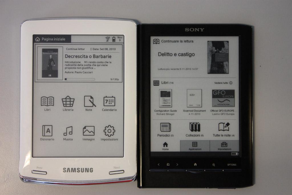 Samsung E60 e Sony PRS-650 in foto
