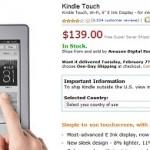 """La pagina d'acquisto del Kindle Touch """"international"""" su Amazon.com"""
