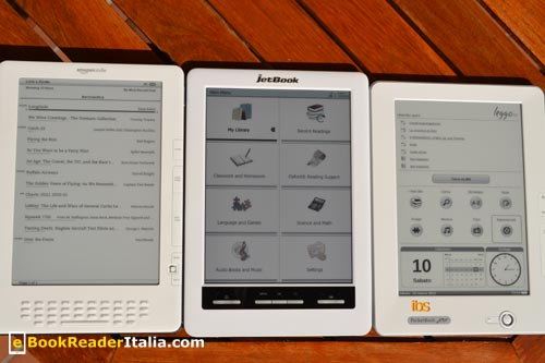 Kindle Dx, JetBook Color e LeggoIBS 912 a confronto