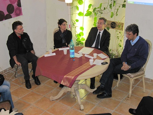 Libroincorso: da sinistra Adriano Boano, Chiara Biano, Paolo Bianco e a moderare l'incontro sui service editoriali Salvatore Nascarella