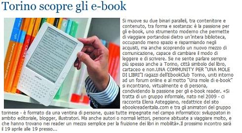 """""""Torino scopre gli e-book"""", l'articolo su La Stampa dedicato alle serate torinesi con la nostra breve intervista"""
