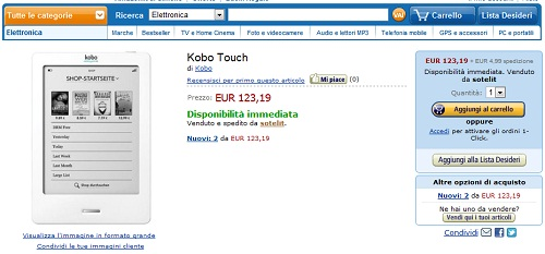 Kobo Touch disponibile su Amazon Italia