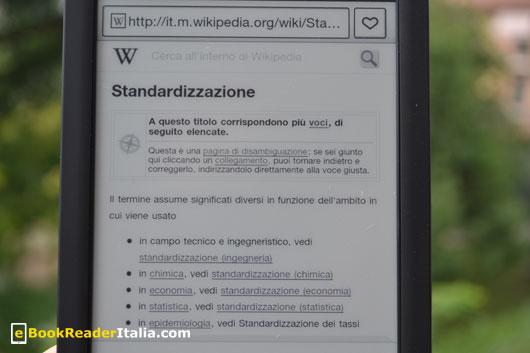Grazie alla connettività Wi-Fi è possibile consultare Wikipedia