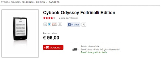 Bookeen CyBook Odyssey a 99 euro
