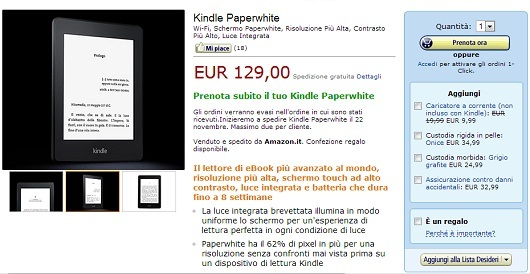 Kindle PaperWhite in Italia a partire da 129 euro