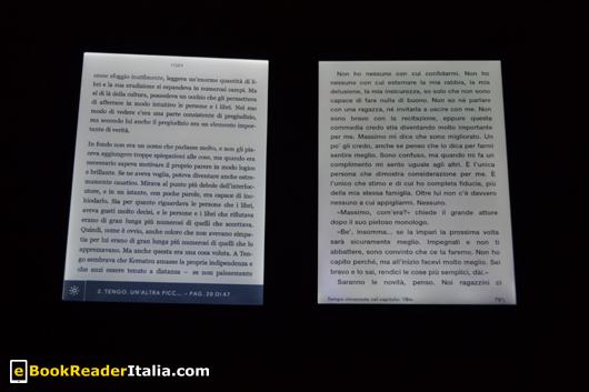 Kobo Glo e Kindle PaperWhite: entrambi con la luminosità al massimo
