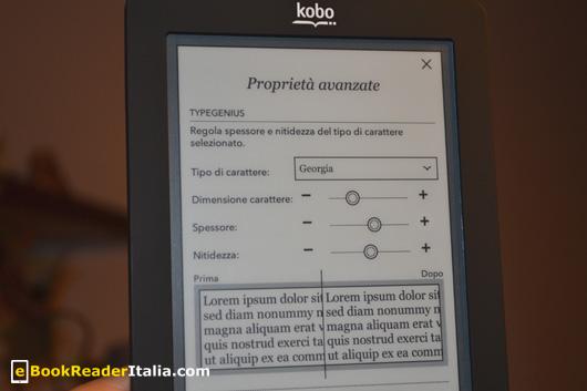 Kobo Touch: impostazione avanzate di lettura