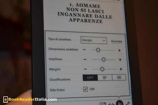Kobo Touch: la regolazione dei parametri di lettura