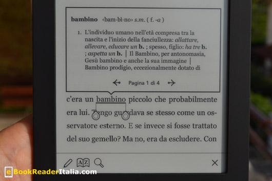 Kobo Touch: il dizionario è integrato nelle pagina di lettura