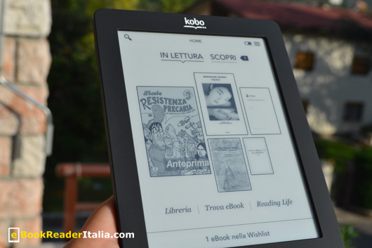 La pagina principale che si presenta all'avvio del Kobo Touch