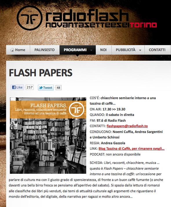 Il nostro podcast della 6a puntata radiofonica di Flashpapers