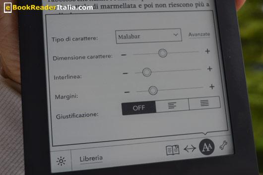 Kobo Glo: la barra degli strumenti e il pannello di personalizzazione del carattere