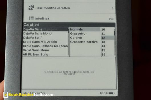 LeggoIBS Basic 613: opzioni cambio dei caratteri