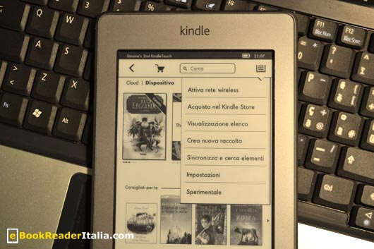 Kindle Touch (firmwarre 5.3.2) - la nuova home page