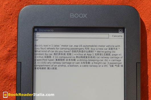 Onyx Booxi62 HD FireFly e l'uso del dizionario