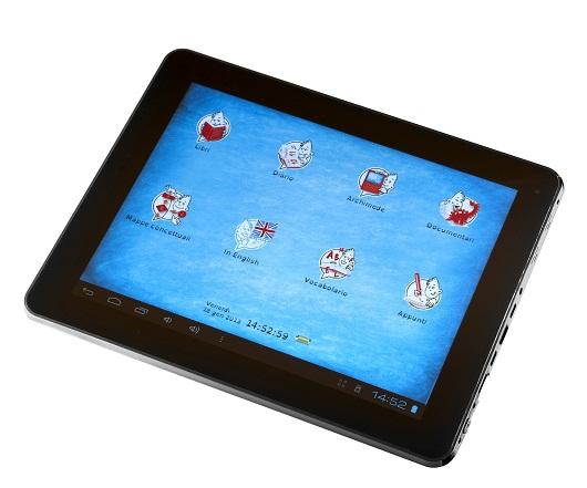 La home page del tablet con le icone dei programmi preinstallati