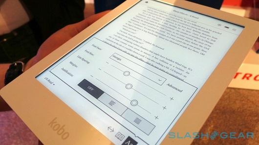 Il pannello di personalizzazione del carattere del Kobo Aura HD