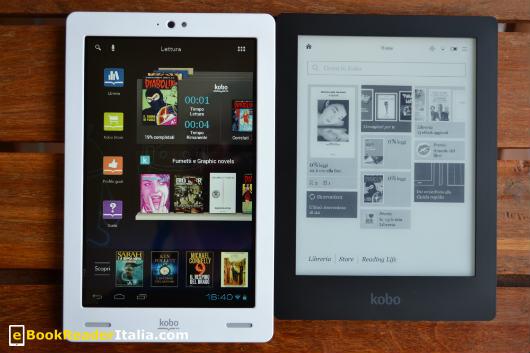 Il tablet Kobo Arc da 7 pollici con il tapestry della lettura in evidenza e - a destra - il Kobo Aura HD. La piattaforma Kobo sincronizza in automatico i due dispositivi