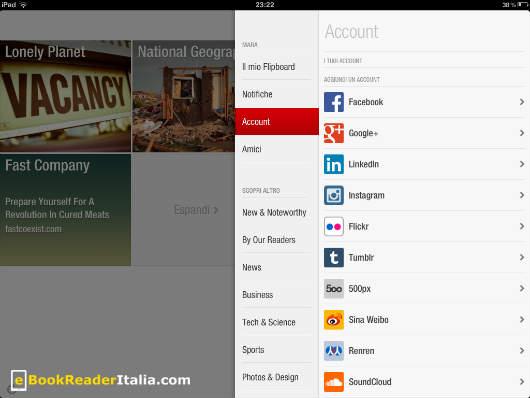 Flipboard per iPad pesca i contenuti dai nostri account sociali