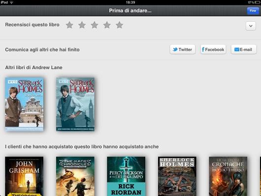 Prima di Andare su Kindle per iPad consente di recensire e condividere i libri letti con gli amici