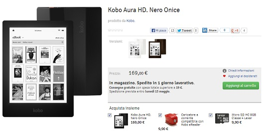 Kobo Aura HD è acquistabile subito nei colori nero onice, avorio e marrone espresso