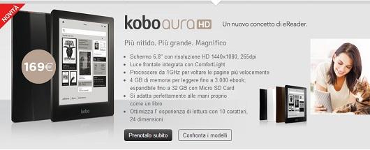 Kobo Aura HD è acquistabile sul sito Mondadori