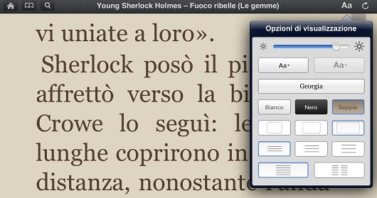 Il pannello per la personalizzazione della lettura
