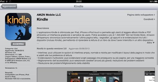 Kindle App per iOS versione 3.8