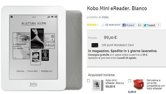 Prezzo pazzo di Kobo Mini ora a 49 euro