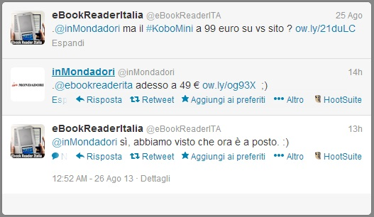 Scambio di tweet con @InMondadori