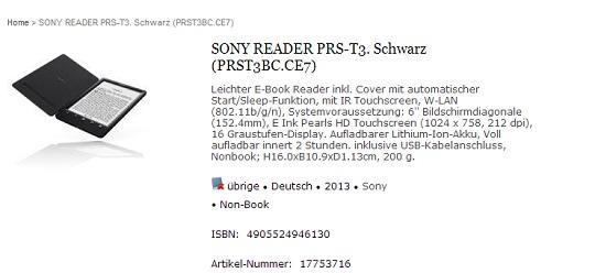 Le presunte caratteristiche tecniche del Sony PRS-T3 pubblicate sul sito svizzero