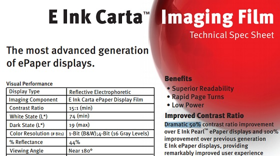 E-Ink Carta - specifiche tecniche