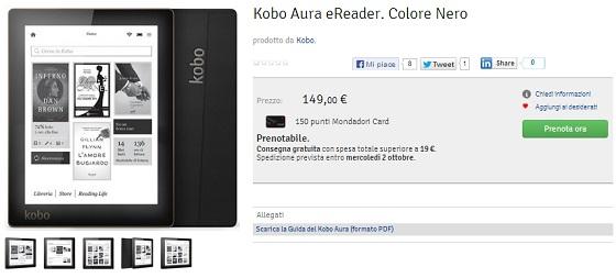 Kobo Aura da oggi è  acquistabile anche in Italia