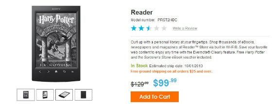 Il T2 è l'unico ereader e-ink Sony in vendita negli USA