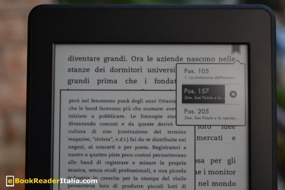 Kindle PaperWhite - gestione dei bookmark