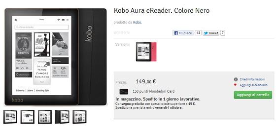 Kobo Aura è acquistabile online sul sito Mondadori