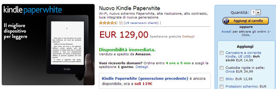 Kindle PaperWhite ed. 2013 - 129 euro