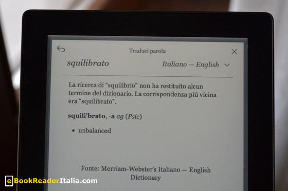 Kobo Aura è dotato di traduttori nelle principali lingue europee