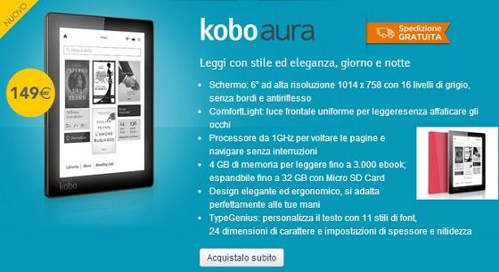 Kobo Aura in vendita sul sito ufficiale Mondadori