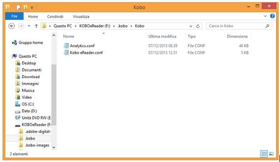 I due file con le impostazioni  utente del Kobo Aura HD.