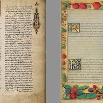 Due pagine incipit finemente miniate. Digital image courtesy of the Getty's Open Content Program.