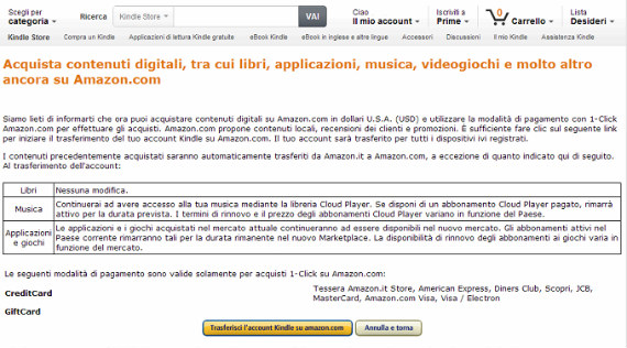 Come trasferire l'account Amazon su Kindle Store USA