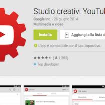 Studio creativi YouTube, la app per la gestione dei canali YT