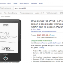 L'ereader Onyx Boox T68 Lynx disponibile in Italia su Amazon.it