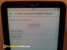 La gestione account sul Tolino Vision 2.