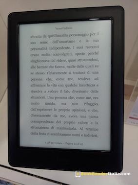 Una pagina visualizzata sul Kobo Glo HD allo stand di Torino del Salone del Libro #SalTO15.