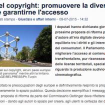 """Europarlamento approva la risoluzione sul copyright """"Relazione Reda"""""""