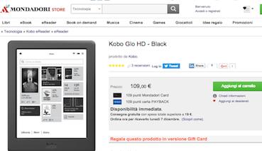 Lo screenshot del 3 dicembre 2015 mostra il Kobo Glo HD prezzato a 109 euro.